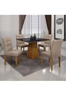 Conjunto Sala De Jantar Mesa Tampo Mdf/Vidro 4 Cadeiras Itália Leifer Imbuia Mel/Preto/Linho Bege