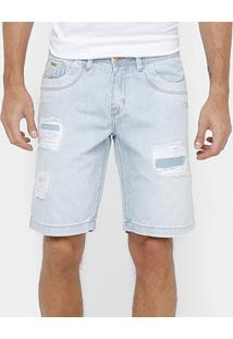 Bermuda Jeans Dardak Rasgos Delavê Masculina - Masculino