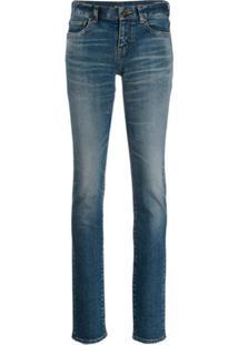 Saint Laurent Calça Jeans Skinny Com Efeito Desbotado - Azul