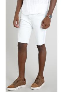 Bermuda Jeans Masculina Slim Com Recorte Azul Claro