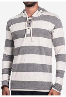 Camiseta Henley Listrada Com Capuz 101642