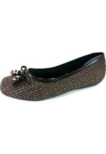 Sapatilha Bico Quadrado Sapatoweb Lacinho Marrom