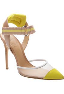 Scarpin Com Velcro- Ros㪠& Amarelo- Salto: 11Cmschutz