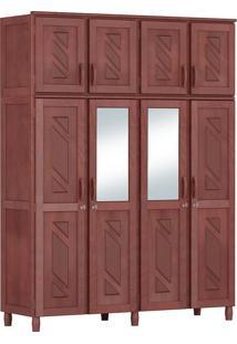 Guarda-Roupa Grécia Casal Mogno Fosco Com Espelho 8 Portas Madeira Maciça De Pinus Cavazotto