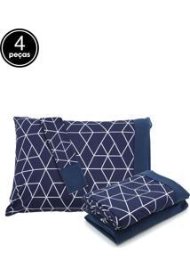 Jogo De Cama 4Pçs Queen Lynel Geometric Blue Malha
