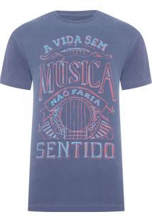 Camiseta Masculina Estampada Sentido - Azul