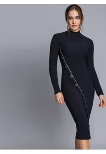 Vestido Gola Alta Recorte Botões Preto Reativo - Lez A Lez