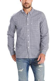 Camisa Levis Sunset One Pocket Xadrez Masculina - Masculino-Branco+Azul