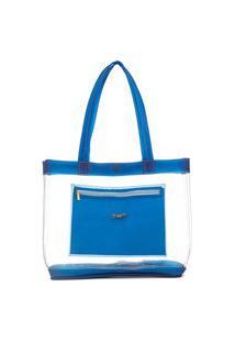 Bolsa Feminina Praia Piscina Transparente Neon De Ombro Dhaffy Azul