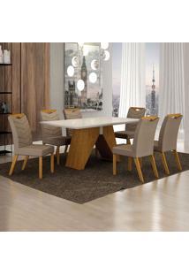 Conjunto De Mesa De Jantar I Com 6 Cadeiras Verona Veludo Off White E Camurça