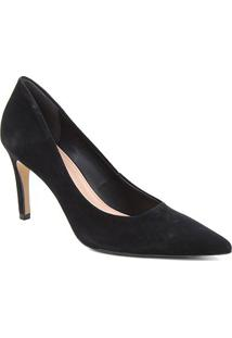 Scarpin Couro Shoestock Salto Alto Graciela Nobuck - Feminino-Preto
