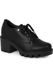 Sapato Oxford Feminino Quiz Tratorado Preto