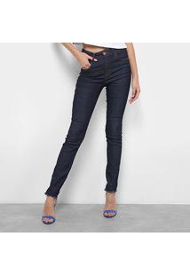 Calças Jeans Skinny Coca-Cola Super High Estonada Feminina - Feminino-Azul