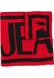 Versace Jeans Couture Cachecol De Tricô Com Padronagem De Logo - Preto