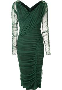 Dolce & Gabbana Vestido Midi Tule Mangas Longas - Verde