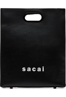 Sacai Bolsa Shopper Média Com Logo - Preto