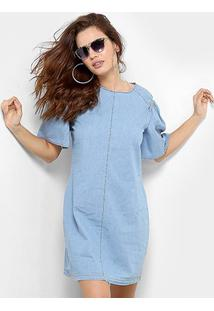 7d0d81042 ... Vestido Forum Curto Jeans Reto Manga Curta - Feminino-Azul Claro