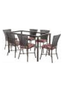Jogo De Jantar 6 Cadeiras Turquia Tabaco A05 E 1 Mesa Retangular Sem Tampo Ideal Para Área Externa Coberta