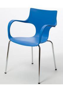Cadeira Jim Base Fixa Cromada Cor Azul - 22588 - Sun House