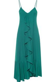 Vestido Babados Decote V - Verde