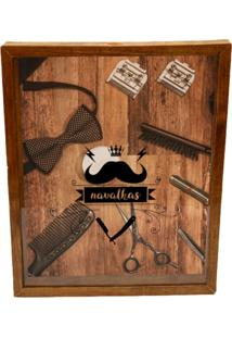 Quadro Porta Navalha Bigode Prolab Gift Marrom - Marrom - Dafiti