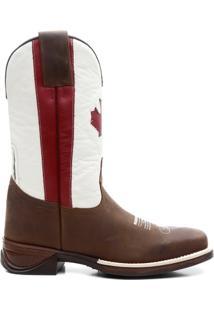 Bota Texana Texas Floather Bandeira Do Canada Sola - Masculino-Marrom Escuro+Branco