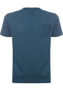 Camiseta Com Bolso Aleatory Masculina - Masculino-Azul