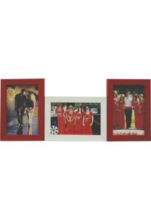 Porta-Retrato Love Ii 3 Fotos 10X15Cm Branco, Vermelho Kapos