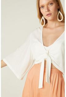 Blusa Kimono Nó Frente Off White - 34