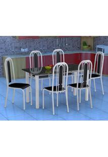 Conjunto De Mesa Com 6 Cadeiras Granada Branco E Preto Liso