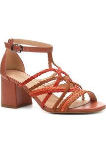 Sandália Couro Shoestock Salto Bloco Tranças - Feminino