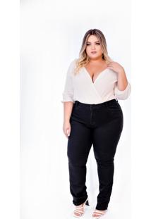Calça Jeans Feminina Plus Size Skinny Cintura Alta Preta