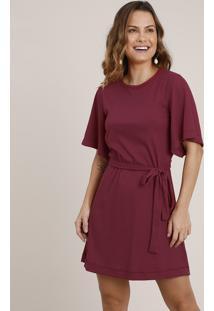 Vestido Feminino Curto Canelado Com Faixa Para Amarrar Manga Curta Vinho