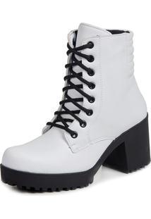 Ankle Boot Tratorado Cadarço Touro Boots Feminino Branco - Kanui