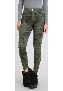 Calça Feminina Super Skinny Estampada Camuflada Verde Militar