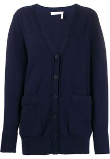 Chloé V-Neck Knit Cardigan - Azul