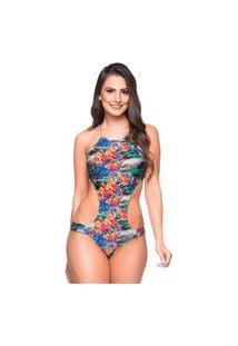 Maiô Engana Mamãe Drape Frente E Costas Iguais Noronha Floral Essencial La Playa 2019