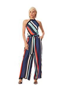 Blusa Decote Quadrado Cava Francesa Detalhe Decote Azul/Laranja