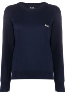 A.P.C. Suéter Com Detalhe De Logo - Azul