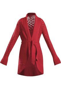 Cardigan Quintess Alongado Lã Vermelho