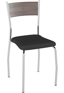 Kit C/ 2 Cadeiras Encosto Tabaco Assento Preto Pozza