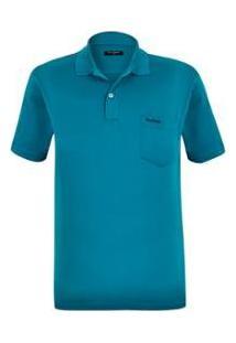 Camisa Polo Plus Size Escócia Masculina - Masculino-Azul