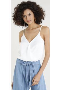 Body Feminino Acetinado Transpassado Blusê Alças Finas Decote V Branco