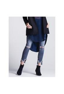 Calça Khelf Calça Jeans Feminina Bordado Girl Gang Barra Azul