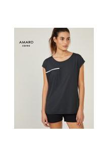 Amaro Feminino Blusa Com Detalhe Refletivo, Preto