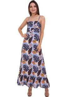 Vestido Longo Estampado Amarração Nas Costas - Feminino-Azul