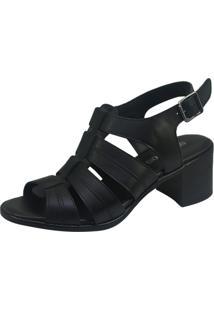 Sandália S2 Shoes Salto Couro Preto