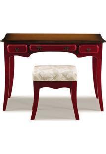 Escrivaninha Afrodite 3 Gavetas Com Banqueta - Vermelho - Tommy Design