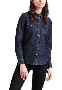 Camisa Jeans Levis Feminina Tailored Classic Western Azul Escura Azul
