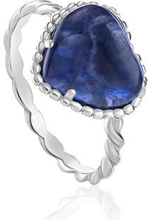 Anel Em Prata Com Lapis Lazuli-Jolie Aneis 17